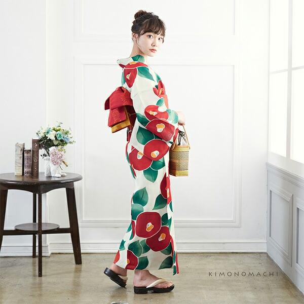 07浴衣:丸椿 生成りに赤+帯:ポピーレッドレトロフラワー+おまかせ下駄