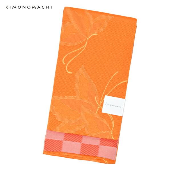 帯09:半幅帯 蝶 オレンジ