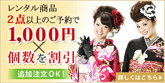 2点以上のレンタルで1000円×個数割引!