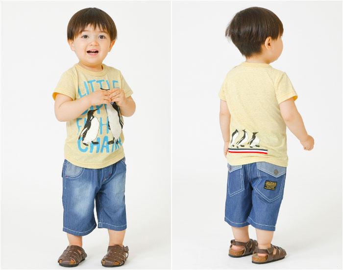 キムラタンの子供服 半袖Tシャツ イラスト ペンギン 初夏 ハーフパンツ デニム