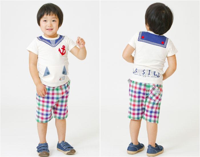 キムラタンの子供服 半袖Tシャツ セーラー風 ハーフパンツ チェック柄