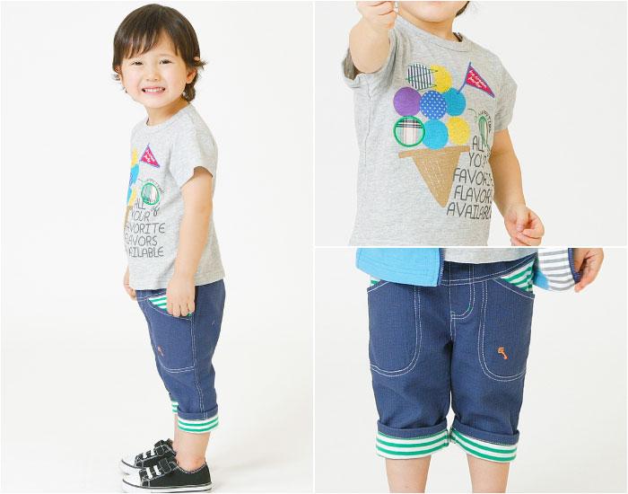 キムラタンの子供服 半袖Tシャツ イラスト アイス クロップドパンツ ボーダー柄