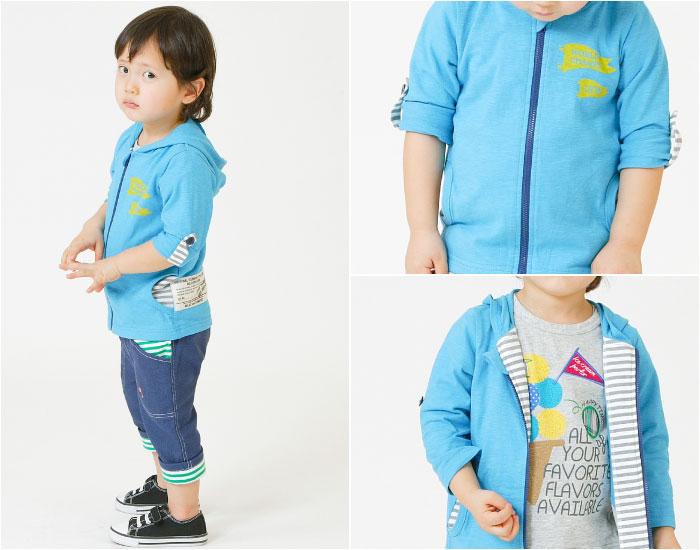 キムラタンの子供服 半袖Tシャツ イラスト アイス クロップドパンツ ボーダー柄 パーカー 青