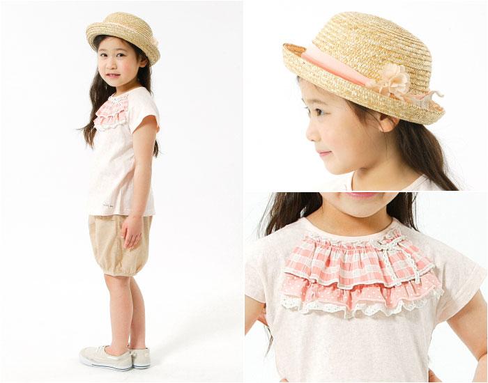 キムラタンの子供服 半袖Tシャツ チェック フリル ハーフパンツ リボン 麦わら帽子 花