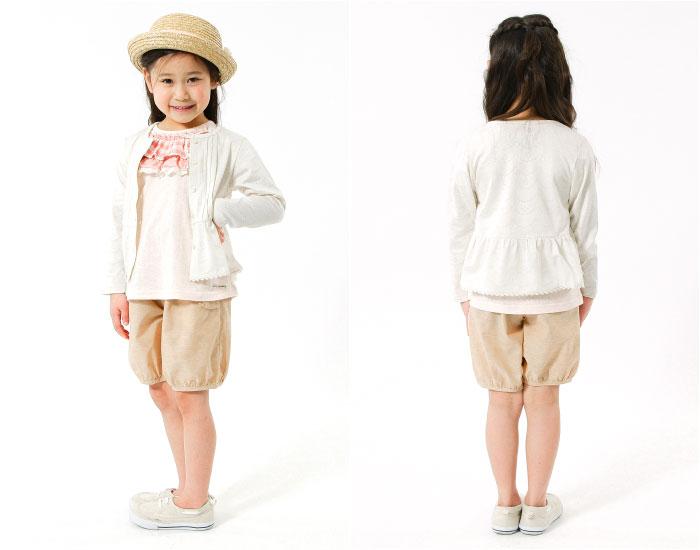 キムラタンの子供服 半袖Tシャツ チェック フリル カーディガン ハーフパンツ リボン 麦わら帽子 花