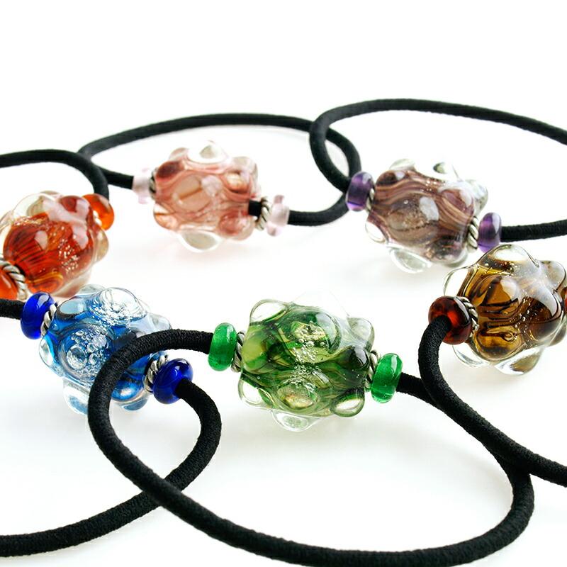 【 Cosmo ヘアゴム 】 ガラス とんぼ 玉 宇宙 ヘアアクセサリー ブレスレット レディース 女性 大人 プレゼント ギフト