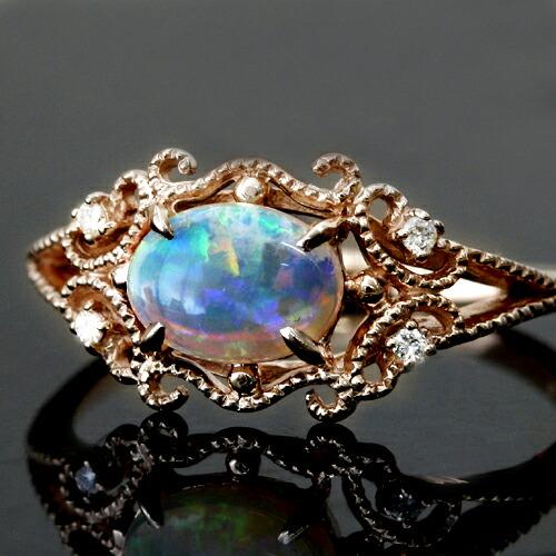 オパール×ダイヤモンドリング指輪
