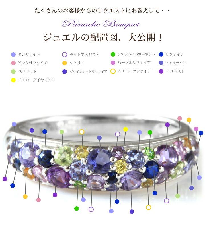 スミレブーケの宝石配置図