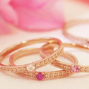 ピンクスピネル ハートモチーフ 10K レディース 指輪 10金 かわいい 人気 一粒リング 重ねづけ ファッションリング 可愛い ブランド 宝石 おしゃれ
