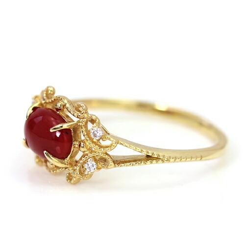 土佐沖産血赤珊瑚ダイヤモンド18Kゴールドリングレディース指輪・ドゥクレシア18金