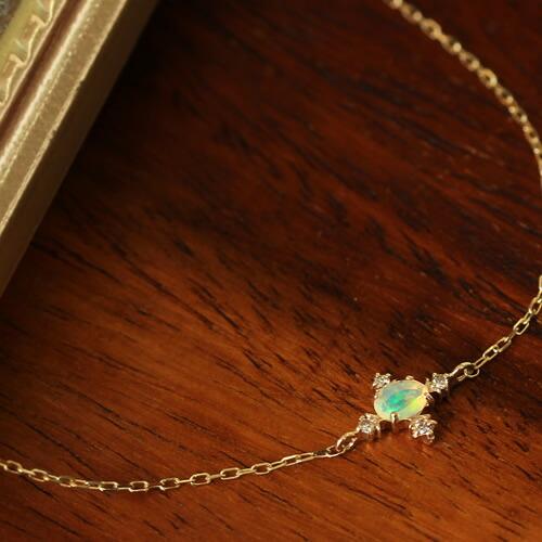 エチオピア産オパール×ダイヤモンド×カラーゴールドブレスレット