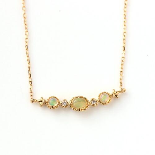 エチオピア産オパール×ダイヤモンド×カラーゴールドネックレス