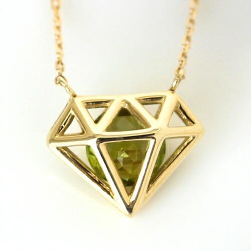 ペリドット ネックレス ペンダント K10 10K 10金 ダイヤ型 個性的 カラフル ジュエリー ブランド 宝石