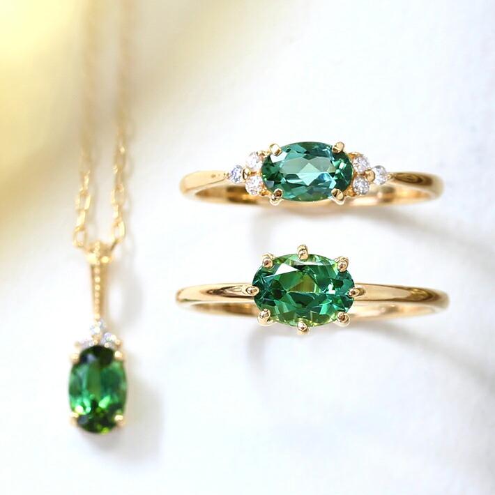 グリーントルマリンのK18リング(指輪)・ネックレス