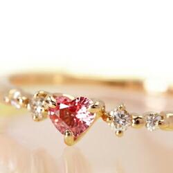 ハートシェイプのパパアチアサファイアとダイヤモンドの18Kリング