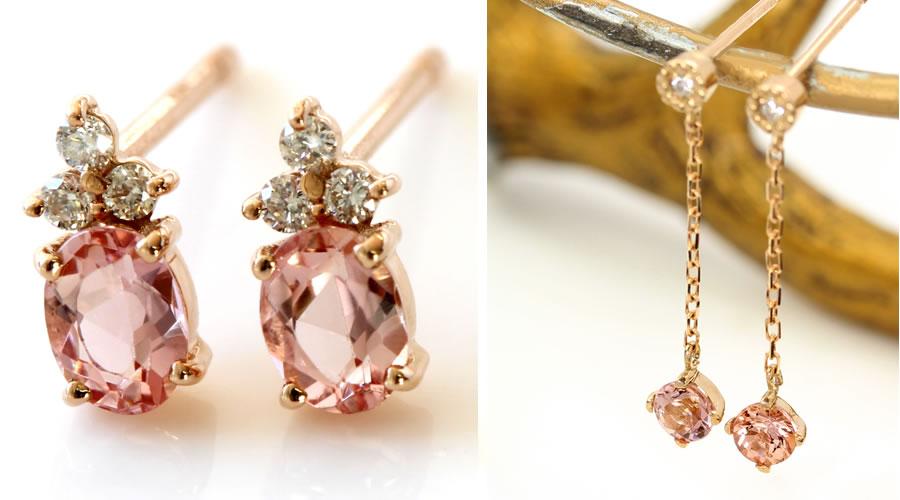 18Kインペリアルトパーズとダイヤモンドのピアス