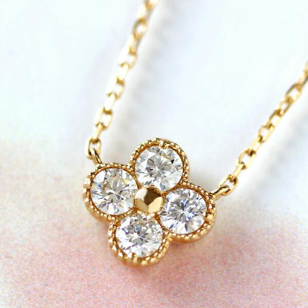 18Kダイヤモンドフラワー ネックレス