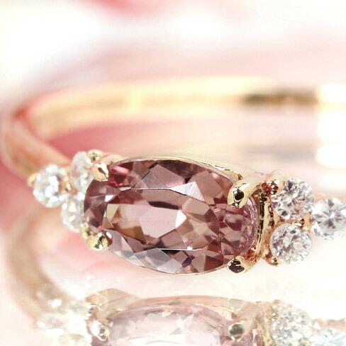 桜色シャンパンガーネットとダイヤモンドのK18リング(指輪)