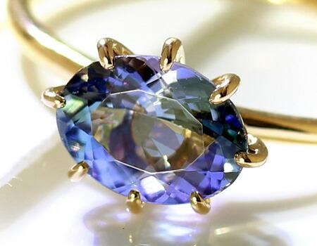 大粒非加熱バイカラータンザナイトのK18リング・指輪