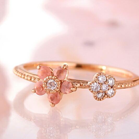 ロードクロサイトとダイヤモンドのK18桜リング(指輪)
