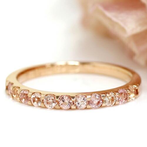 インペリアルトパーズのK18ハーフエタニティリング(指輪)