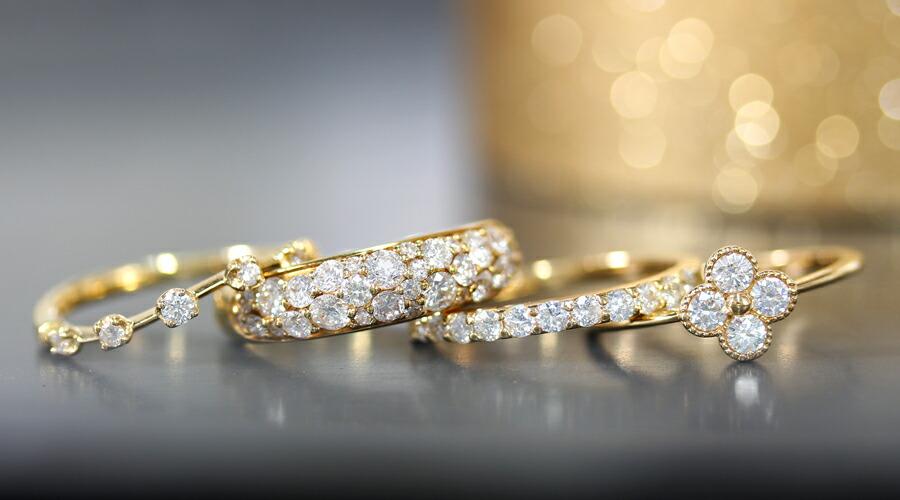 18Kダイヤモンドのフラワーモチーフネックレス