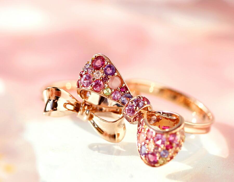 桜色マルチカラ—ジュエル K18リボンリング(指輪)