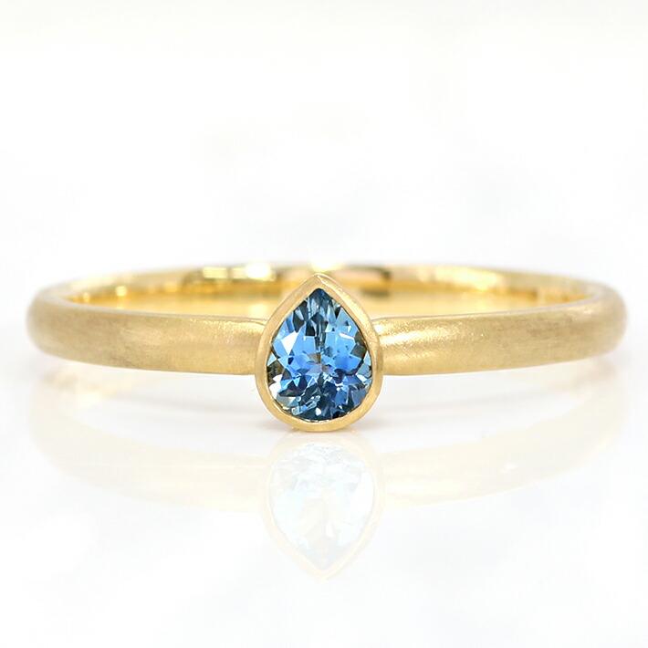ペアシェイプのサンタマリアアクアマリンのK18リング(指輪)