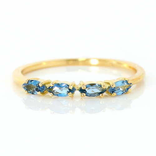 マーキスカットのサンタマリアアクアマリンのK18リング(指輪)