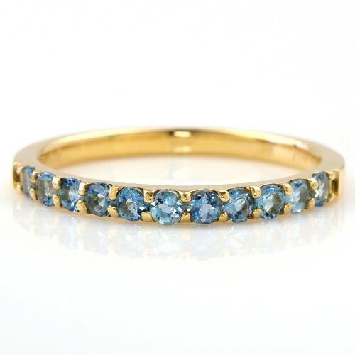 サンタマリアアクアマリンのK18ハーフエタニティリング(指輪)