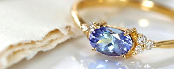 タンザナイトとダイヤモンドのK18ピンキーリング