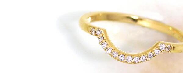 ダイヤモンドの重ね付け用K18ピンキーリング