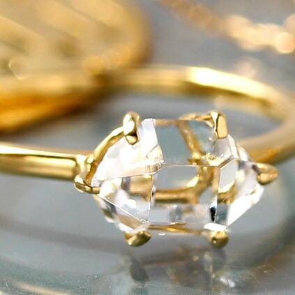 K18ハーキマークオーツ(ハーキマーダイヤモンド)のリング(指輪)