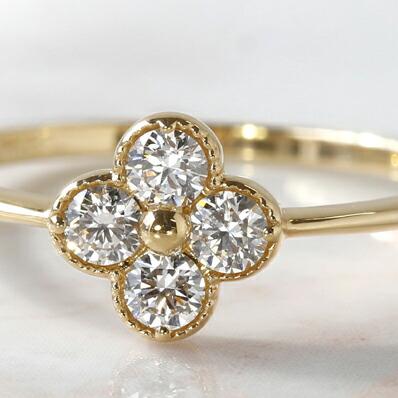 K18ダイヤモンドのフラワーリング(指輪)