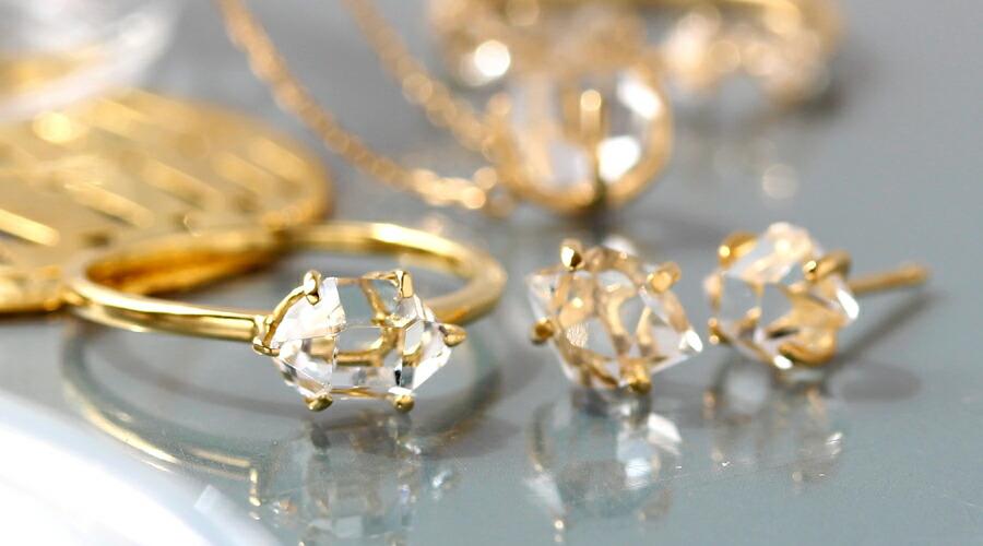 K18ハーキマークオーツ(ハーキマーダイヤモンドのK18リング(指輪)