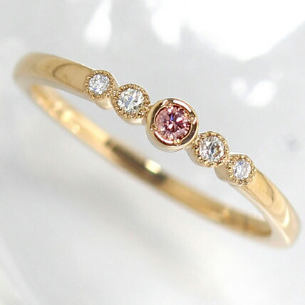 K18天然ピンクダイヤモンドのリング(指輪)