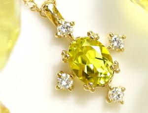 カナリ—イエロートルマリンとダイヤモンドの18Kペンダントトップ
