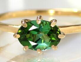 大粒グリーントルマリンの18Kリング(指輪)
