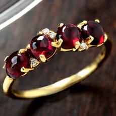 大粒パイロープガーネットのK18リング(指輪)