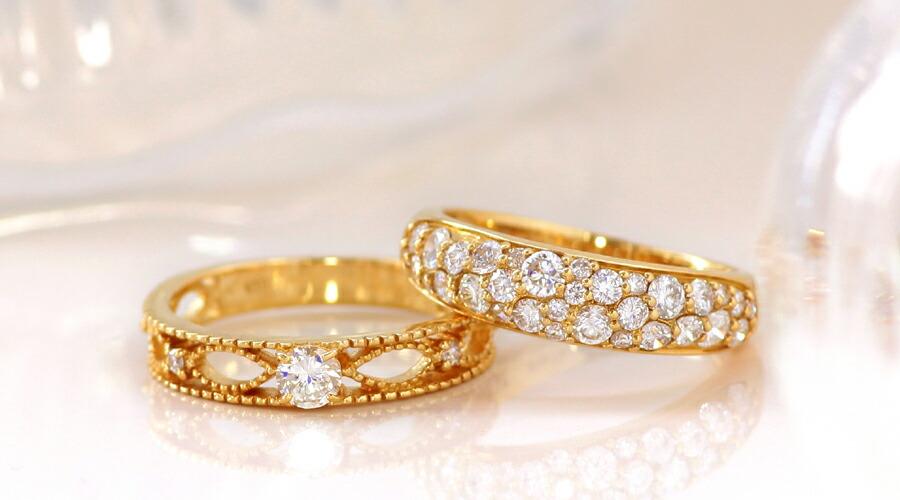4月誕生石K18ダイヤモンドリング(指輪)