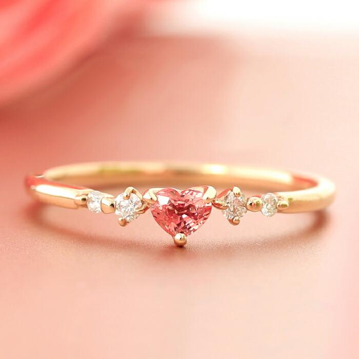ハートシェイプのパパラチアサファイアとダイヤモンドのK18リング(指輪)