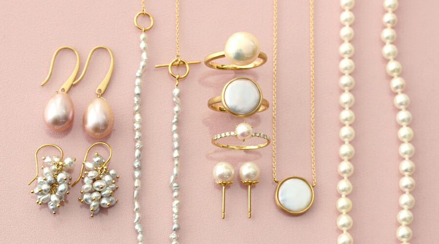 パール(真珠)のリング、ネックレス、ピアス