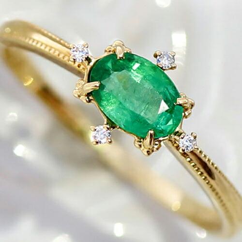 大粒エメラルドのK18リング(指輪)