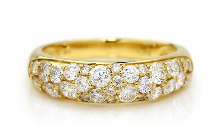 SIクラス以上0.85ctダイヤモンドプラチナ900パヴェリング「ルミエールブーケ」