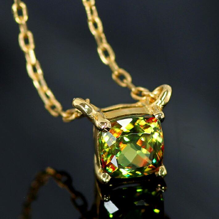 パキスタン産クロムスフェーンの18金ネックレス