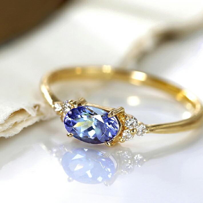 タンザナイ  トとダイヤモンドの18金リング