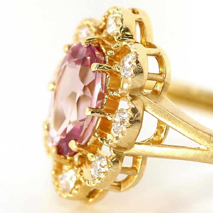 マラヤガーネットとダイヤモンドの18金リング