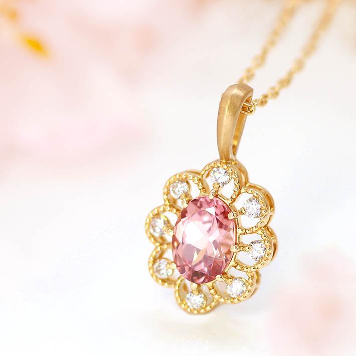 桜色マラヤガーネットオーバルカットの18金ペンダントトップ