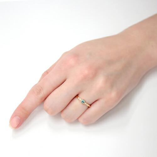 グランディディエライトとダイヤモンドのK18リング(指輪)の装着画像