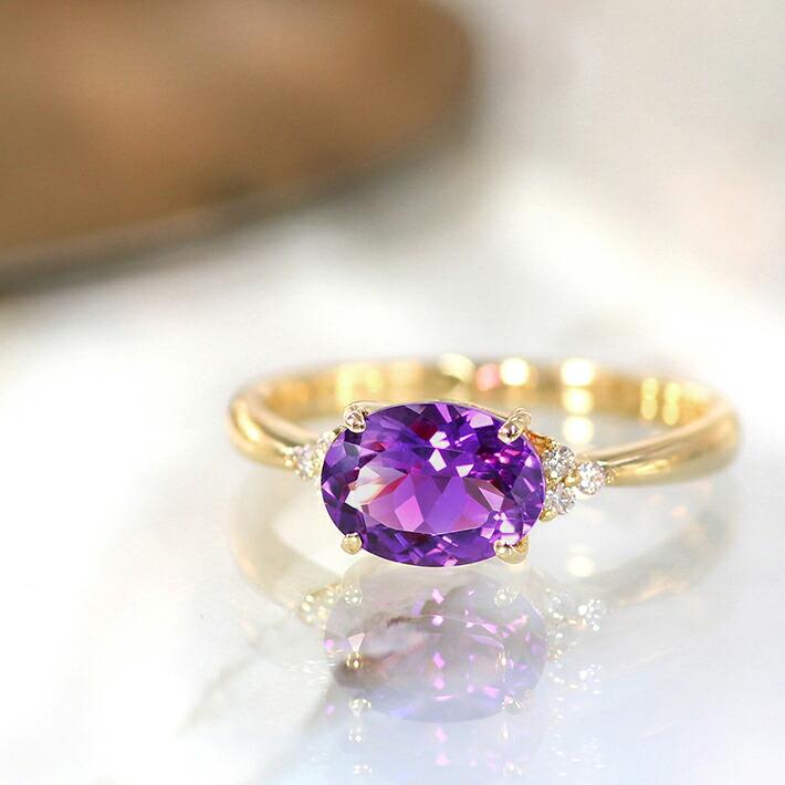 カシャライ産アメジストとダイヤモンドの18金リング